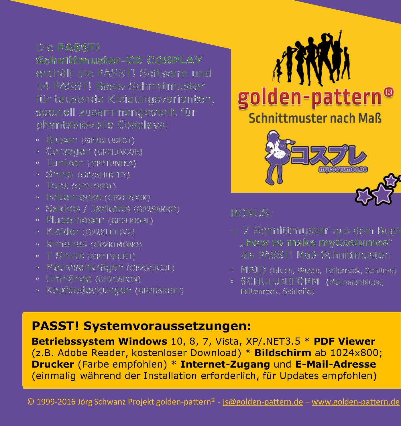 Passt! myCostumes Cosplay Schnittmuster-CD   Schnittmuster - PASST ...